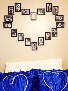 DIY wall heart picture collage <3 - $12 for all picture frames from target