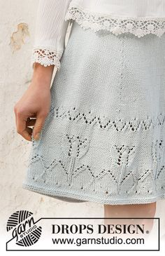 Spring Tulip pattern by DROPS design Skirt Pattern Free, Crochet Skirt Pattern, Crochet Tunic, Crochet Clothes, Knit Skirt, Knitting Gauge, Lace Knitting, Knitting Stitches, Drops Design