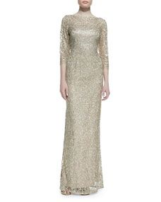 3/4-Sleeves Sequin Lace Overlay Gown, Rose Gold