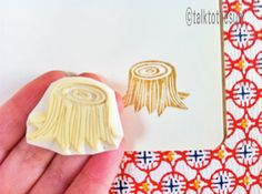 tree stump rubber stamp. hand carved rubber stamp. hand carved stamp. trees in the forest. card making. craft supplies. by talktothesun.