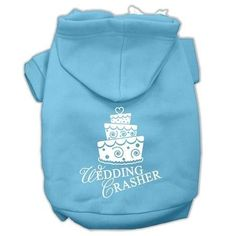 Wedding Crasher Screen Print Pet Hoodies Baby Blue Size XL (16)