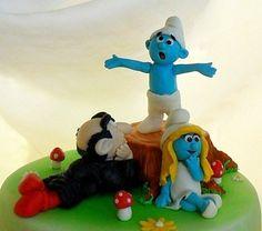 The Smurfs fondant cake topper