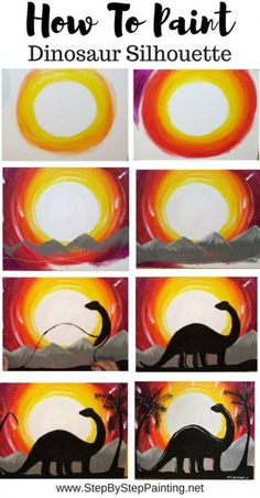 How to paint a dinosaur silhouette - step by step painting light acrylic . - indispensable address of art - How to paint a dinosaur silhouette – painting step by step light acrylic … - Light Painting, Easy Canvas Painting, Acrylic Painting Tutorials, Acrylic Canvas, Diy Painting, Painting & Drawing, Easy Painting For Kids, Acrylic Painting For Kids, Cactus Painting