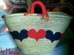 cesta ecológica enamorados cesta pleita,tejido,trapillo aplicación cosida a,mano Basket Liners, Summer Handbags, New Bag, Bag Making, Straw Bag, Decoupage, Diy And Crafts, Anniversary, Tote Bag