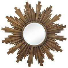 starburst mirror + walnut vanity + white desk would be beautiful