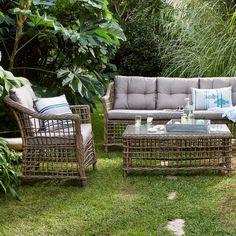 Canapé d'extérieur 3 places Courbery effet rotin Imitation rotin naturel/taupe prix Canapé de jardin Alinéa 489.00 €