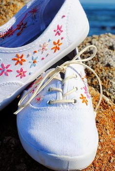 Add unexpected designs to your DIY shoes when you learn how to embroider these simple flowers.