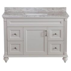 $768 Home Decorators Collection Annakin 48 in. Vanity in Cream with Stone Effect Vanity Top in Winter Mist-CLSD48COMWM-CR - The Home Depot. Particle board construction.