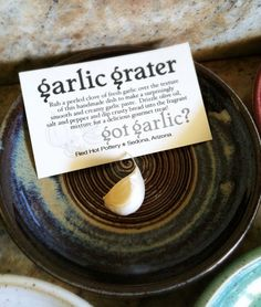 8/25/14 IN STOCK AND READY TO SHIP Stoneware pottery garlic grating dish. In stock and ready to ship!    Rub a peeled clove of fresh garlic over
