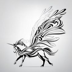 Скачать - Фантастический единорога в орнамент — стоковая иллюстрация #95828734