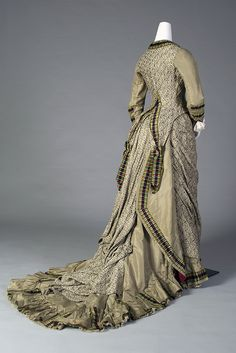 Dress of patterned silk with plaid plush ribbons, American, ca. 1879, KSUM 2000.51.1 ab.