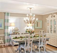 creamy ivory and robin's egg blue. combination of Annie Sloan Chalk Paint and Maison Blanche.