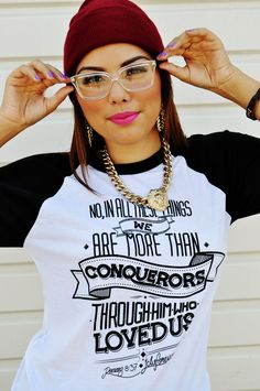$19.99-MORE THAN CONQUERORS Baseball Raglan by JCLU Forever Christian t-shirts