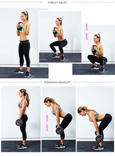 Day one: Goblet Squat, DB Romanian Deadlift Dumbell Deadlift, Personal Trainer, Crossfit, Leg Training, Heath And Fitness, Moda Fitness, Academia, Gym Workouts, Workout Videos