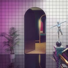 Mysterious hallways and arched doors 💫 Count me in. Aesthetic Rooms, Retro Aesthetic, 80s Interior Design, Pastel Interior, 80s Design, Cyberpunk, 3d Cinema, Vaporwave Art, Arched Doors