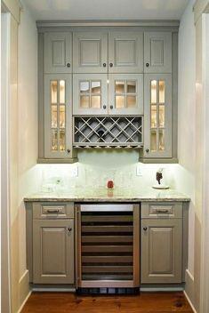 Ideas for kitchen bar design ideas butler pantry Built In Wine Rack, Built In Bar, Built Ins, Built In Pantry, Kitchen Redo, Kitchen Pantry, New Kitchen, Kitchen Cabinets, Gray Cabinets