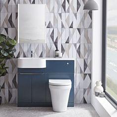Tavistock Match 1000mm Oxford Blue Furniture Run - Left Hand Blue Bathroom Furniture, Blue Furniture, Dark Blue Bathrooms, Concealed Cistern, Tavistock, Shower Taps, Narrow Bathroom, Oxford Blue, Chrome Handles