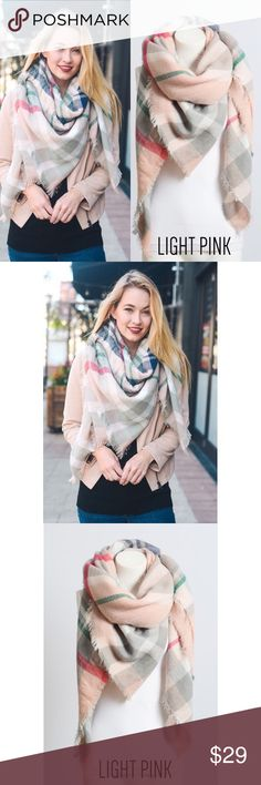 """🆕 Flannel Frayed Edge Blanket Scarf Big and warm 😍 100% acrylic. 60"""" x 55"""". No trades. No lowball offers. Accessories Scarves & Wraps"""