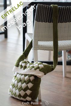 Check out this neat Entrelac messenger bag made in Lion Cotton Yarn.