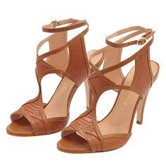 LUIZA BARCELOS Sandália recortes cobra - marrom.  Sandália de salto fino em couro com textura de cobra, palmilha acolchoada em couro e solado em couro.