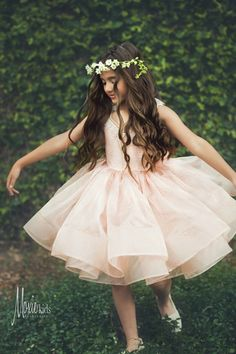 "Modern flower girl tutu dress with horsehair braid - blush / gold - sparkle organza - ""Lillian"" dress  - ""At First Blush"" Collection - Spring/Summer 2015"