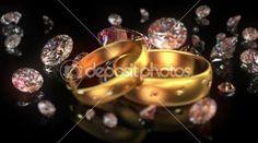 Snubní prsteny a diamanty — Stock video #47097601