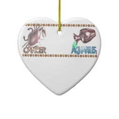 Cancer Aquarius astrology friendship by Valxart Christmas Tree Ornament  Valxart.com astrology art is available for everyone on hundreds of products that you can customize . See us on pinterest.com/valxart  or Contact info@valx.us for help finding or making the perfect friendship gift from Valxart