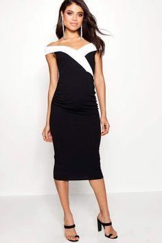 be3c0e51593 boohoo Maternity Contrast Lapel Bardot Dress
