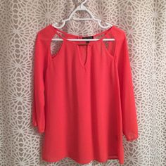 Love culture sheer shirt Coral sheer shirt with beautiful cut out at the top. Smoke free home. Love Culture Tops Blouses