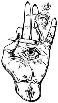 Open hand with the all-seeing eye on the palm. Psychedelic Drawings, Trippy Drawings, Dark Art Drawings, Art Drawings Sketches, Tattoo Drawings, Weird Drawings, Hipster Drawings, Unique Drawings, Black And White Art Drawing
