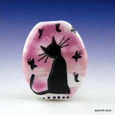"""THE BUTTERFLY WHISPERER"" byKAYO a Handmade CAT Lampwork Art Glass Focal Bead #Lampwork"