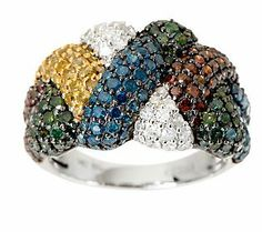 AffinityDiamond 2.60 ct tw Woven Color Design Ring, 14K Gold