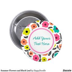 Summer Flowers and Black Leaf Classic Round Sticker Black Leaves, How To Make Buttons, Custom Buttons, Summer Flowers, Round Stickers, Make Your Own, Doodles, Bottle Caps, Floral