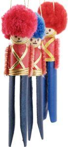 Little Clothespin Soldier Ornaments
