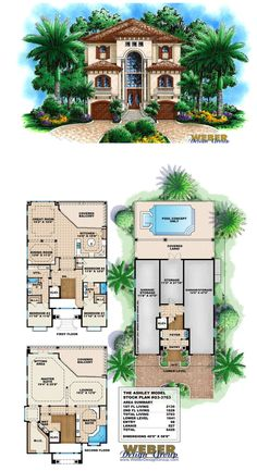 G3-3763 - Ashley - Waterfront House Plan.  4 bedrooms, 3 full baths, 3 car garage within 3,763 square feet of living area.