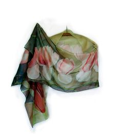Hand painted silk scarf The Red Magnolia/ Floral silk scarves/ Unique gifts for her/ Green red scarf painted Habotai silk/ Holidays gift mom
