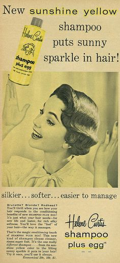 "1957 Beauty Ad, Helene Curtis Shampoo Plus Egg, ""Sunshine Yellow"" by classic_film, via Flickr"