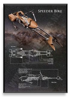 Speeder Bike Poster, Star Wars Ship, Star Wars Poster, Star Wars Patent, Star…