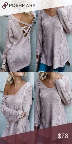 New Arrival! Cross Back lightweight Mauve sweater New Arrival  ! Crossed Back lightweight Mauve sweater - gorgeous super soft loose knit lightweight sweater great for spring with a great color. Criss-crossed back ! Just in time for Valentines Day !!!  🌺Host Pick🌺 🌺Boutique Items are Priced Firm however 2+ seller discount does apply 🌺 Sweaters