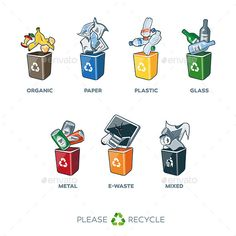 Illustration of separation recycling bins with organic, paper, plastic, glass, metal, e-waste and mixed waste. Waste segregation m