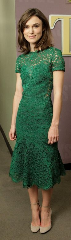 Who made Keira Knightley's nude ankle strap pumps and green scallop lace dress that she wore in Burbank on November 13, 2012? Dress – Burberry Shoes- Valentino