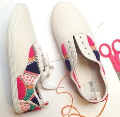 Working on this custom pair of hand embroidered sneakers #embroidery #fashion…