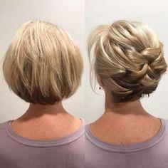 Newest Short Hair Updo Hairstyle Ideas - frisuren Up Hairstyles, Hairstyle Ideas, Bob Updo Hairstyles, Popular Hairstyles, Natural Hairstyles, Short Hair Cuts, Pixie Cuts, Hair Lengths, Hair Inspiration