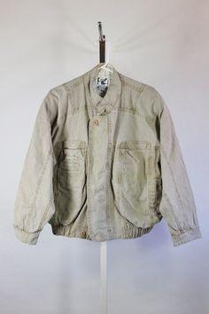 SALE - Vintage 80s Distressed Khaki Cotton Canvas Coda Bomber Jacket - Mens Size…