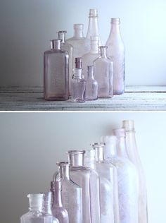 Vintage Lavender Glass Bottles