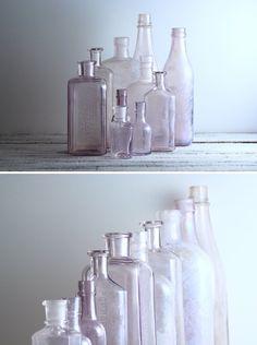 Vintage Lavender Glass Bottles