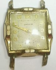 Vintage mens Lathin mechanical movement watch 10k rolled gold plate #26S