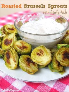 Roasted-Brussels-Sprouts-with-Garlic-Aioli      (use nonfat Greek yogurt instead of mayo and olive oil instead of canola oil)