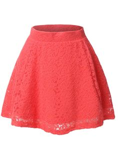 LE3NO Womens Floral Lace Versatile Flared Skater Skirt