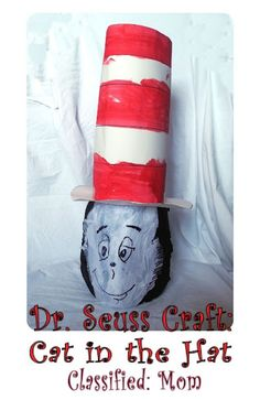 """""""The Cat in the Hat"""" Dr. Seuss Kids Craft using a milk jug, tissue paper, poster board & paint. - project for an older child"""
